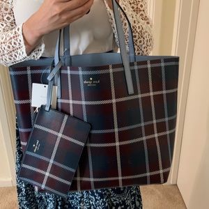 KATE SPADE MYA ARCH PLACE CLOUD COVER TOTE PLAID